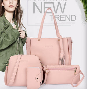 New child-mother bag four-piece fashion simple lychee pattern wild shoulder messenger handbag one generation