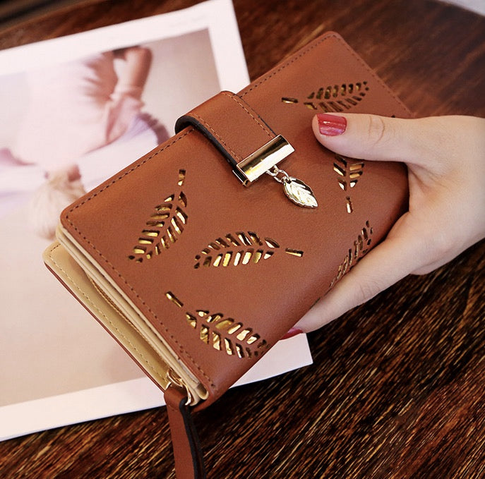 Women wallet long purse hollow leaves zipper buckle banquet