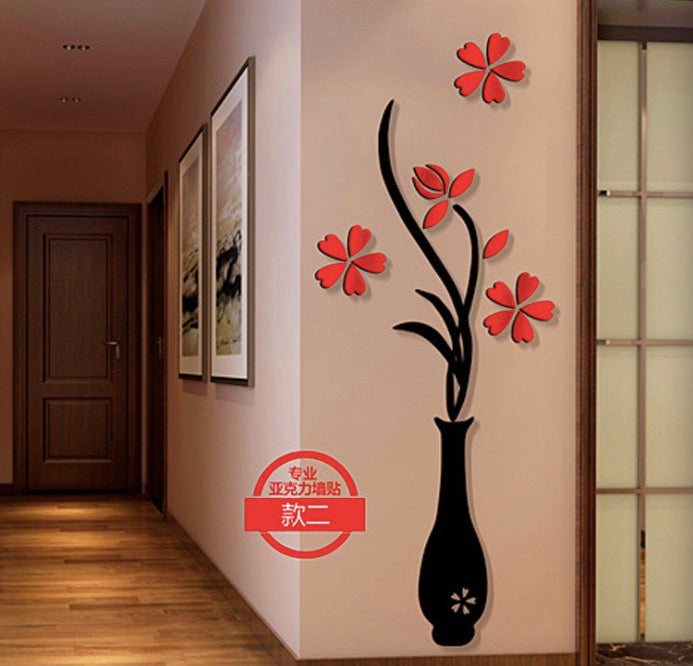 Creative Crystal Three-dimensional Vase Acrylic 3D Three-dimensional Wall Stickers Entrance Sofa TV Background Wall Decorative Mural