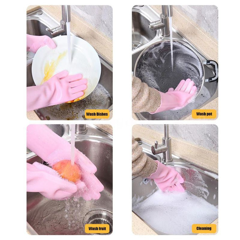 A pair of Dishwashing Gloves Kitchen Silicone Cleaning Gloves