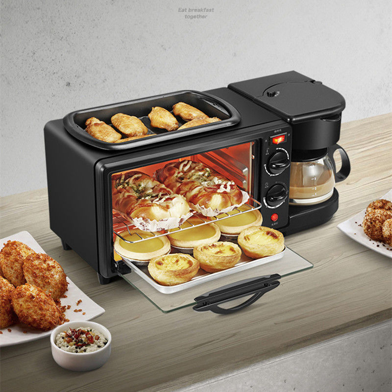 New 3-in-1 Breakfast Machine Coffee Pot, Oven Bread Baking Maker Bread Toaster /Fried Egg/ Coffee Cooker