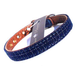 Blue Fabric & Brown Faux Leather Collar - pawslove1