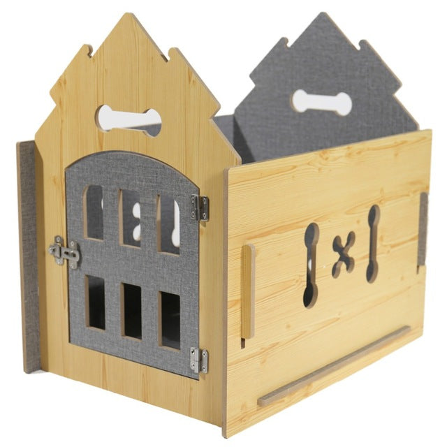 Domestic Pet Dog Solid Wood House. - pawslove1