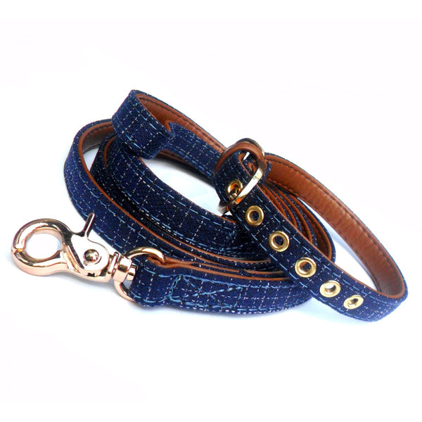 Blue Denim Fabric Dog Lead. - pawslove1