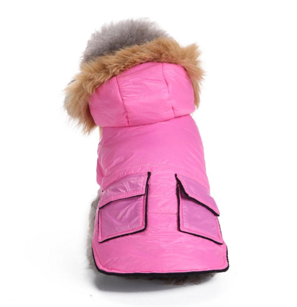 Dog Parka Coat - Black & Pink - pawslove1