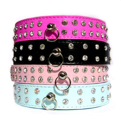 Double Row Crystal Rhinestone Dog Collars 10-20""