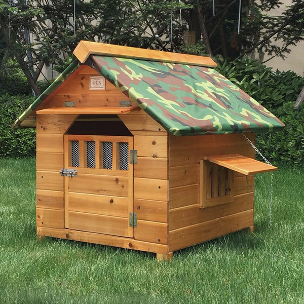 Outdoor Solid Wood Dog House Waterproof. - pawslove1