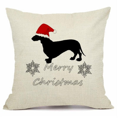 Christmas Dachshund Style Cushion Cover. - pawslove1
