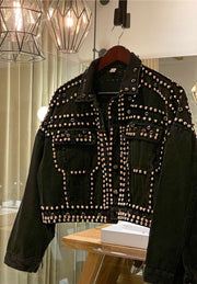 RIVET STUDDED CROPPED DENIM JACKET BLACK