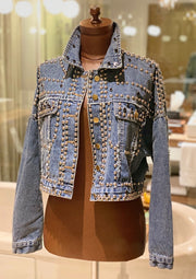 RIVET STUDDED CROPPED DENIM JACKET BLUE