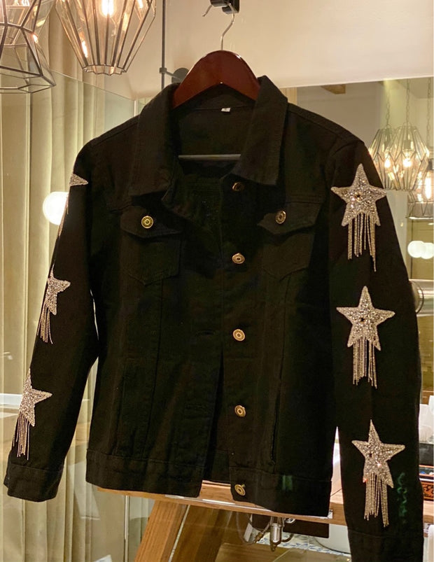 FALLING STARS DENIM JACKET BLACK
