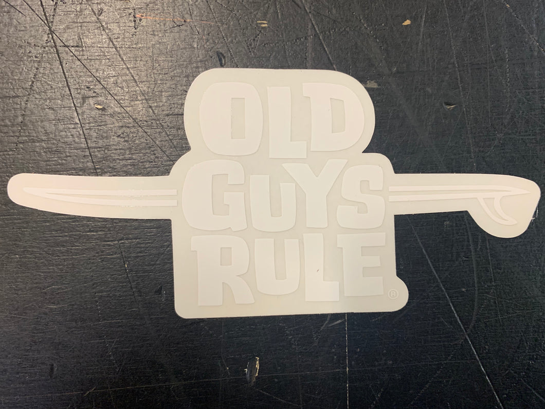 Long Board Logo Decal White Old Guys Rule