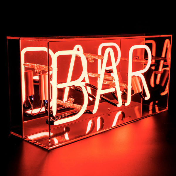 'Bar' Neon Red Acrylic Box Locomocean