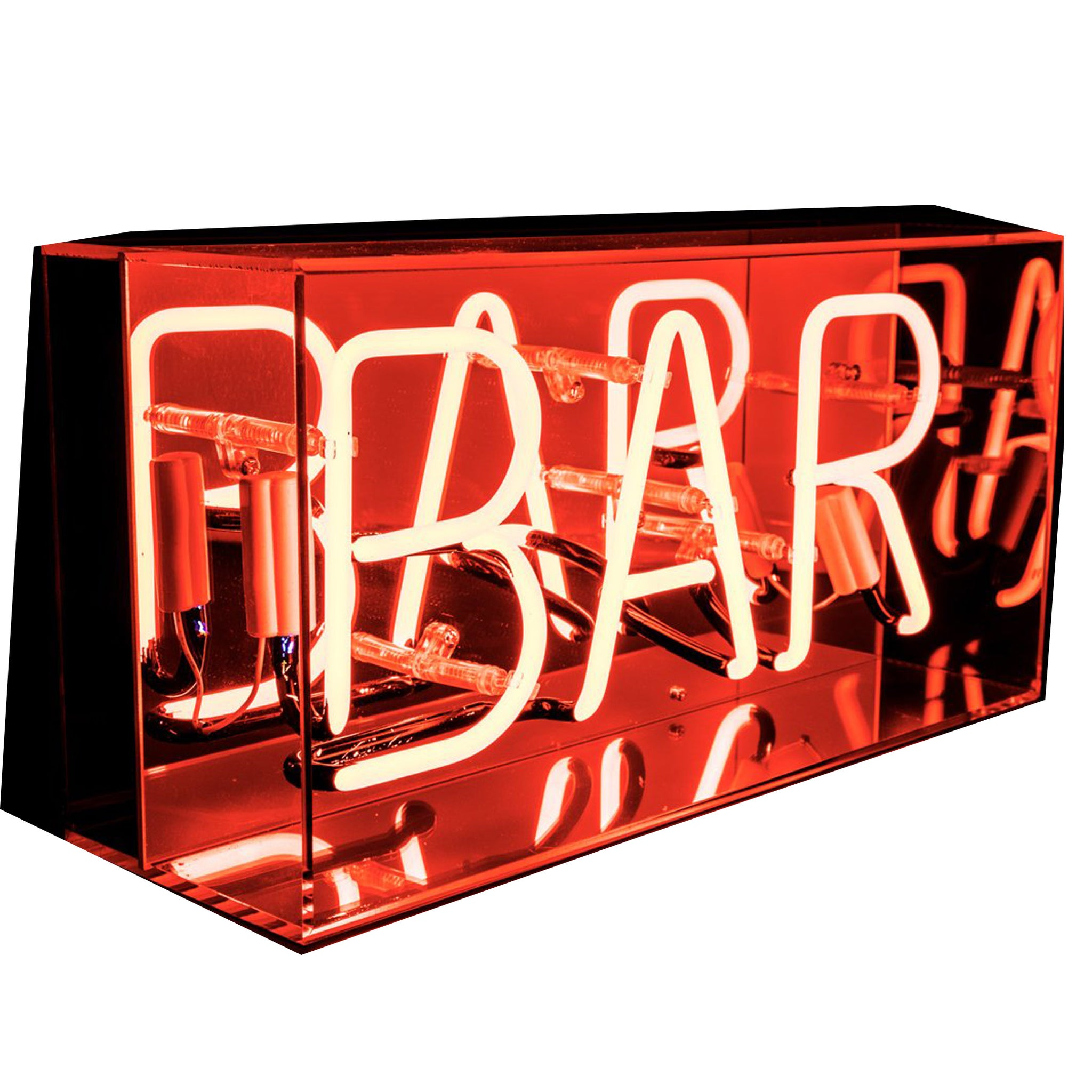 'Bar' Neon Red Acrylic Box