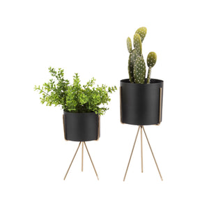 Plant Pot Stand - Black / Gold - Five And Dime
