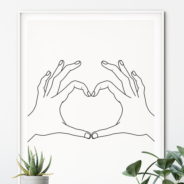 A3 Boy Boy 'Heart Hands' Print - Five And Dime
