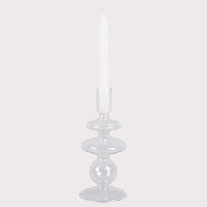 Glass Candle Holder 'Rings' - Clear