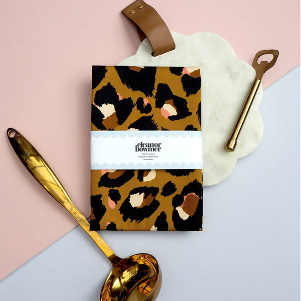 Caramel Leopard Print Tea Towel - Five And Dime