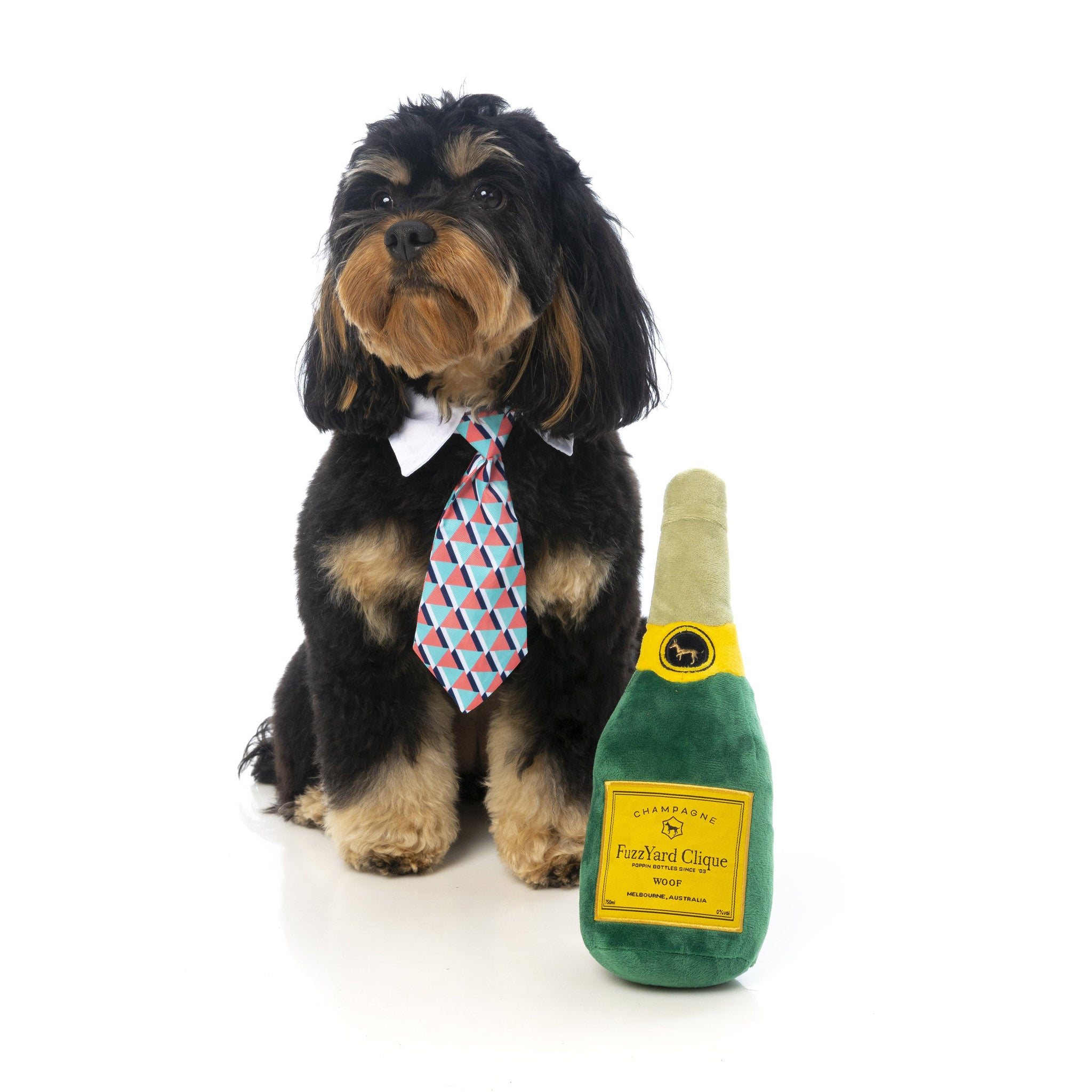 'Champagne Bottle' Plush Dog Toy - Five And Dime