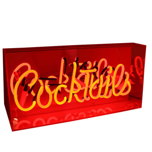 'Cocktails' Neon Red Acrylic Box