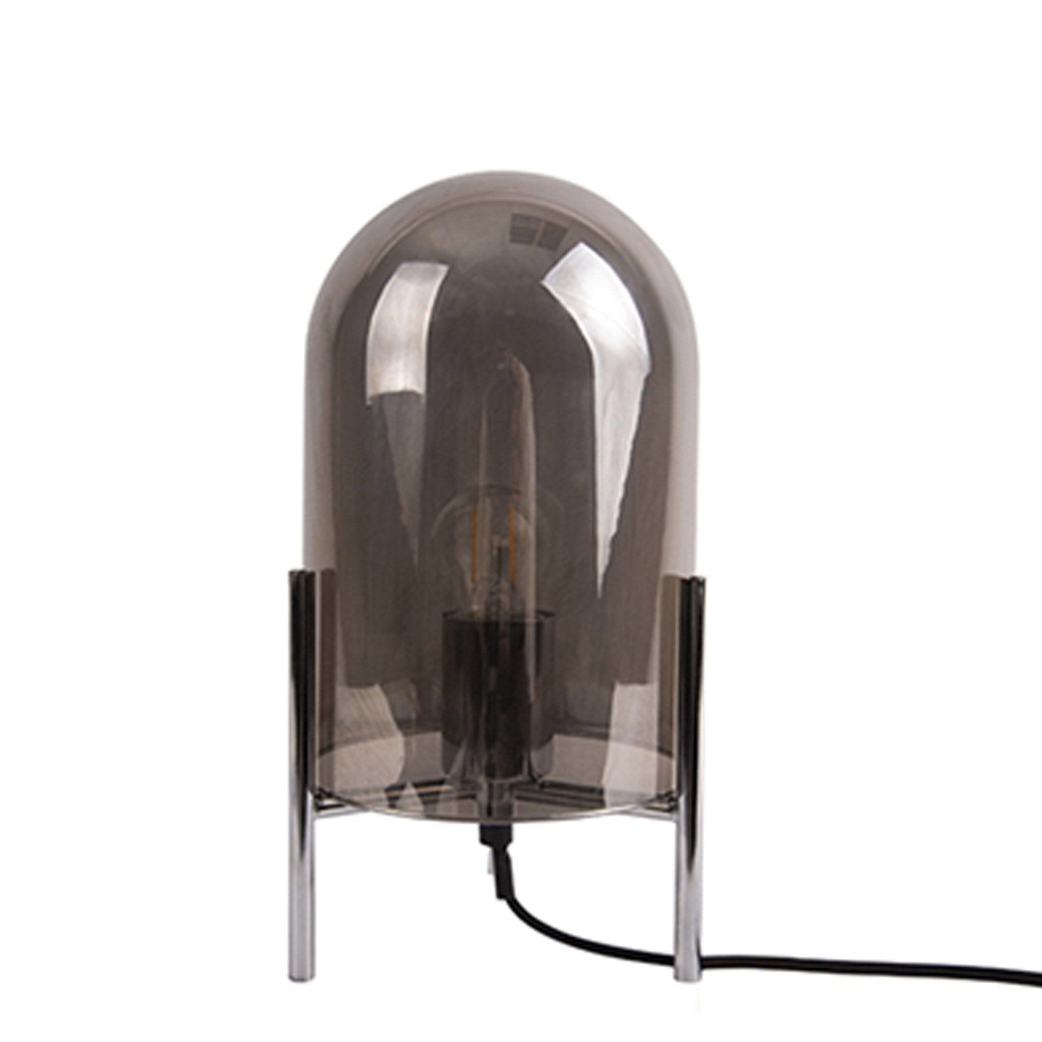 Glass Bell Table Lamp - Chrome