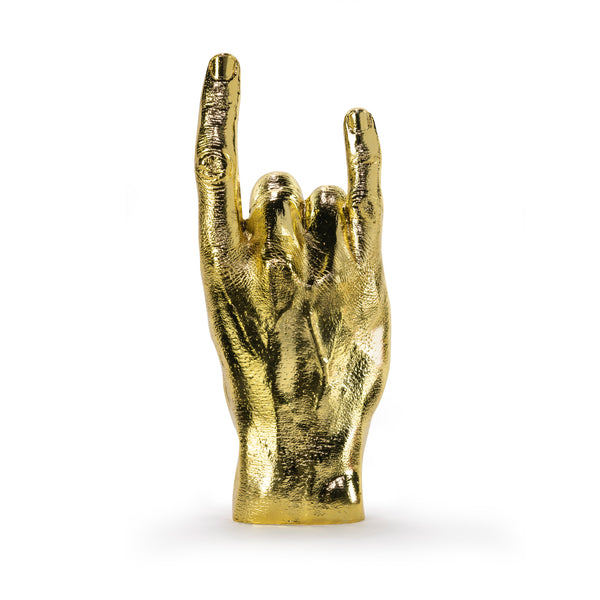 'Rock On' Gold Hand Sculpture / Jewellery Holder - Five And Dime