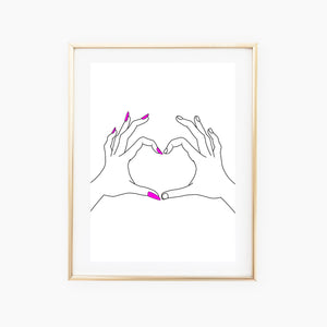 A3 Girl Boy 'Heart Hands' Print - Five And Dime