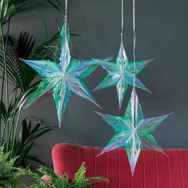 Iridescent Stars Decorations (Pack of 3) Talking Tables