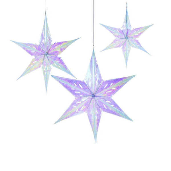 Iridescent Stars Decorations (Pack of 3)