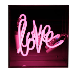'Love' Mini Neon Pink Acrylic Box