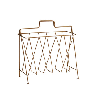 Magazine Rack - Antique Brass Finish - Five And Dime
