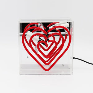 'Heart' Mini Neon Red Acrylic Box