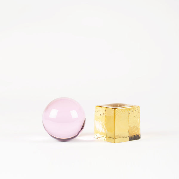 'OH MY' Mini Glass Sculpture - Pink / Amber