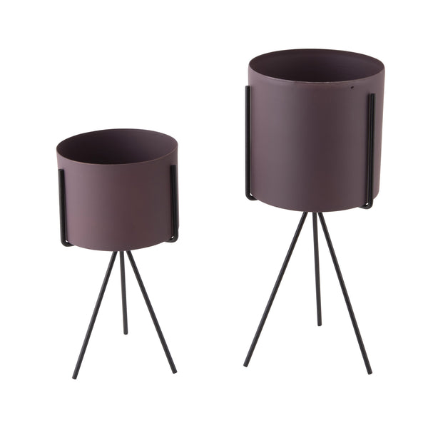 Set of 2 Plant Stands - Dark Purple