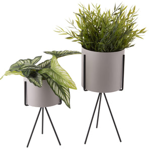Set of 2 Plant Stands - Warm Grey