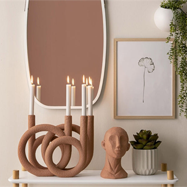 Candle Holder 'Ring' Sculpture - Terracotta