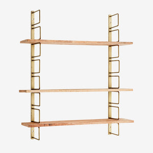 Adjustable Shelving - Mango Wood / Antique Brass Finish - Five And Dime