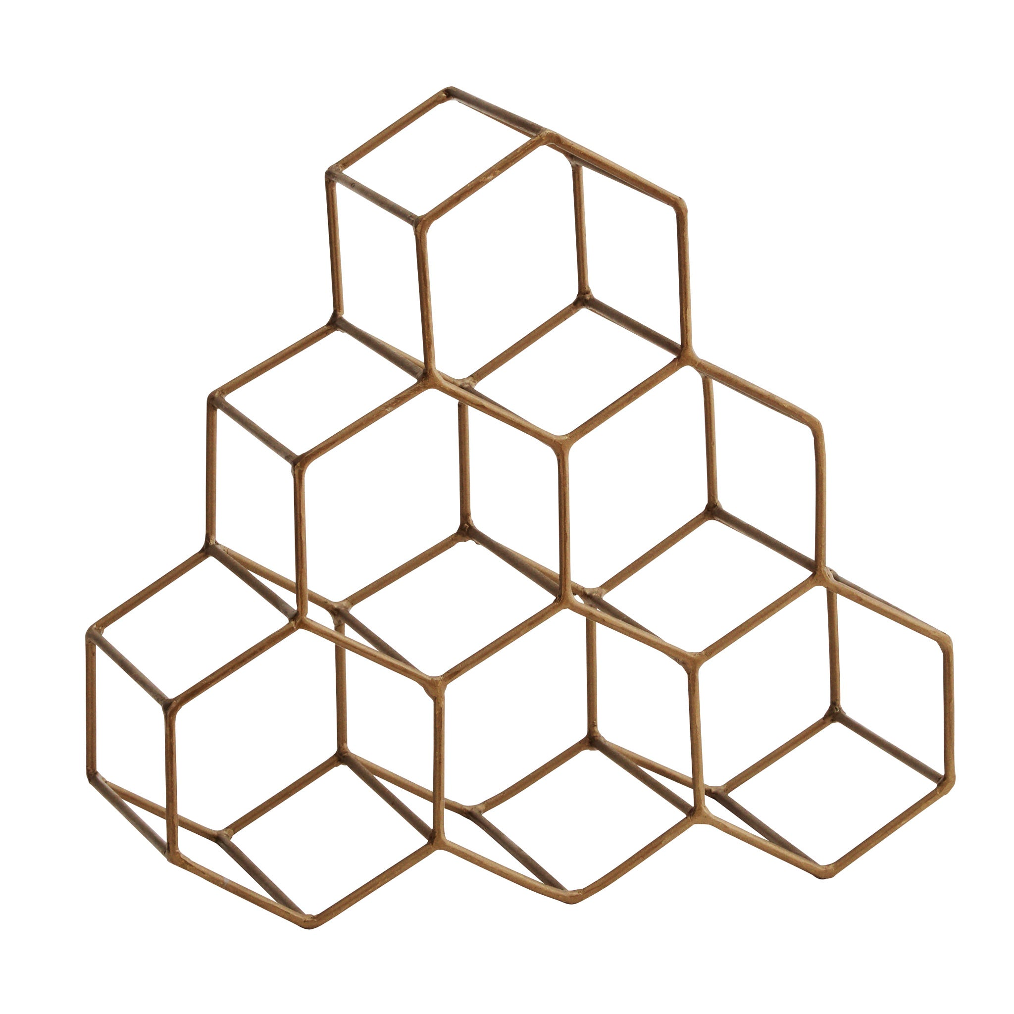 Hexagonal Brass Finish Wine Rack - 6 Wine Bottles - Five And Dime