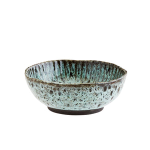 Green / Black Hand Finished Stoneware Bowl - Five And Dime