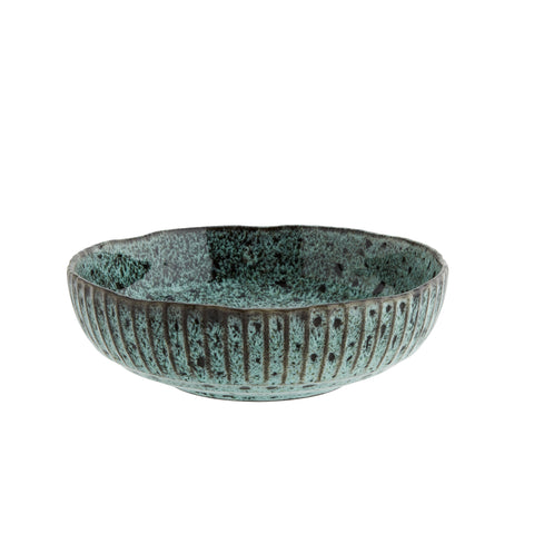 Green / Black Hand Finished Stoneware Serving Bowl - Five And Dime