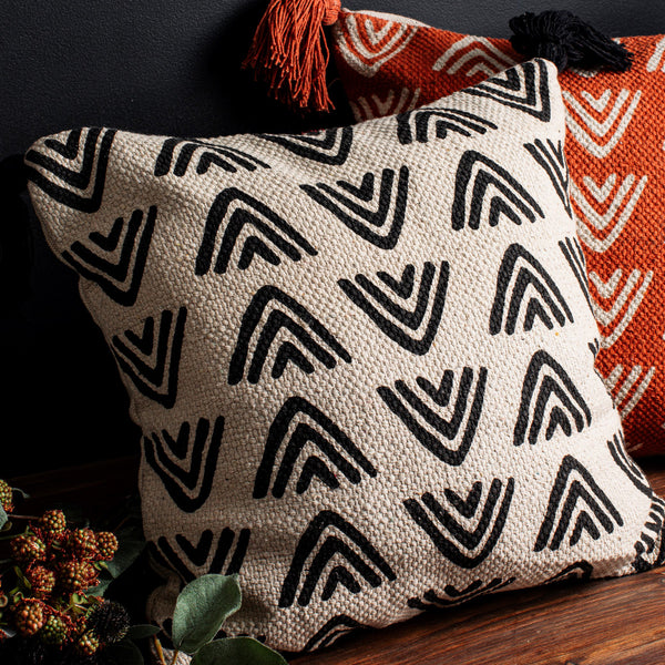 Block Print Tassel Cushion