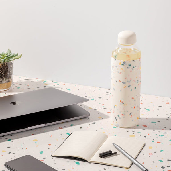 Terrazzo Water Bottle - Cream - Five And Dime