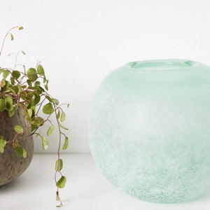 Green Frosted Vase - Five And Dime