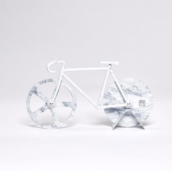 Pizza Cutter 'The Fixie' White Marble - Five And Dime