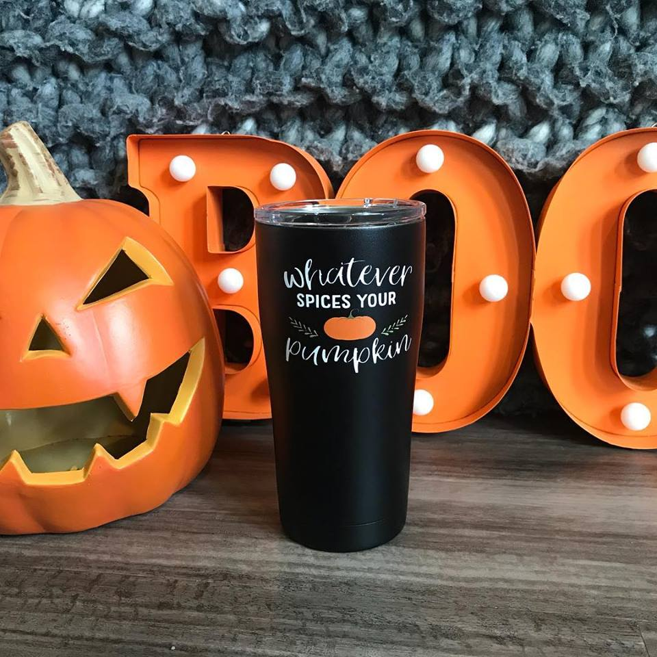 Whatever Spices Your Pumpkin printed 20 oz. Black SIC tumbler