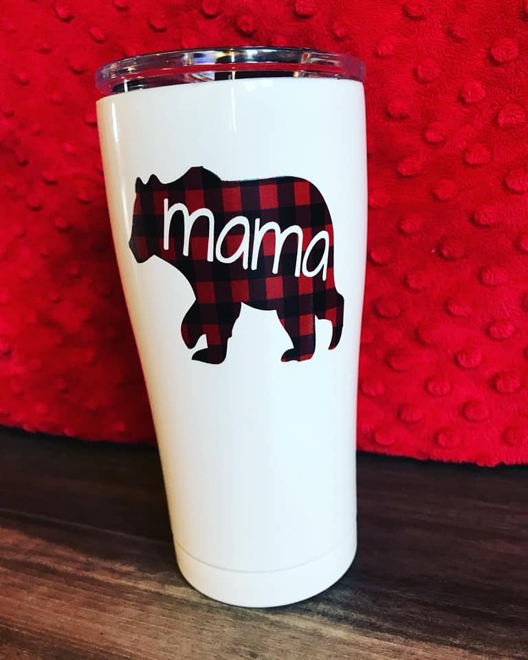 Mama Bear Plaid- Printed 20 oz SIC Tumbler *RTS*