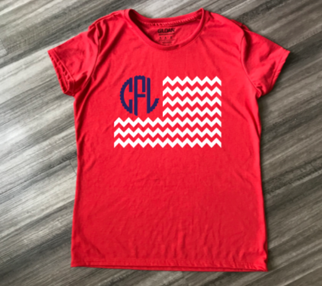Red Flag Monogram Womens Shirt