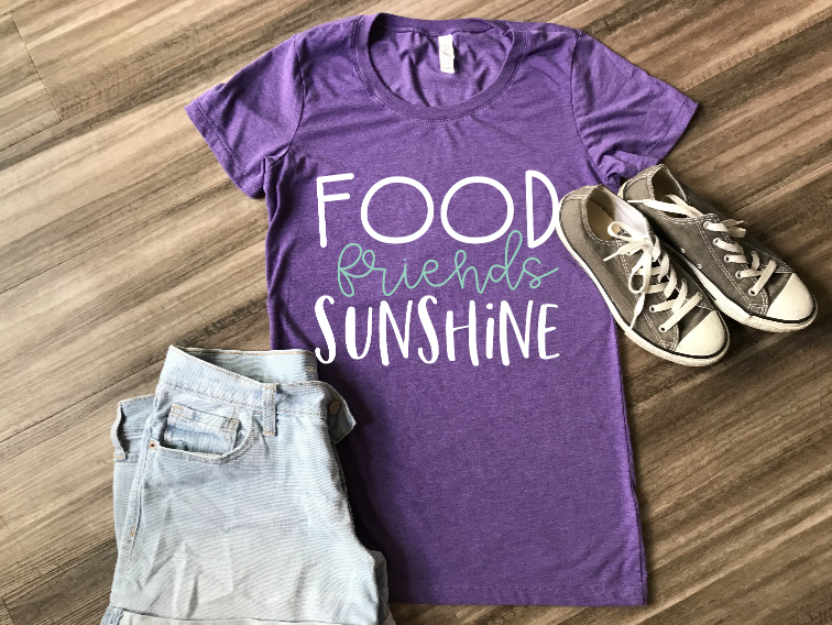 Food, Friends & Sunshine T-shirts