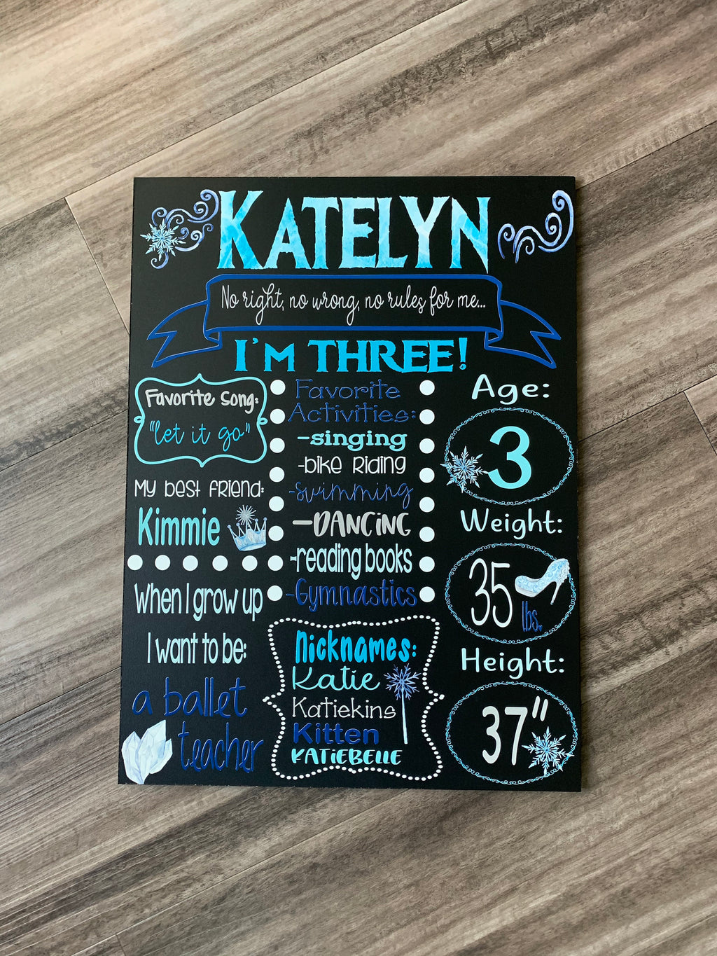 Ice Queen Birthday Milestone Chalkboard, Frozen inspired personalized birthday stat board