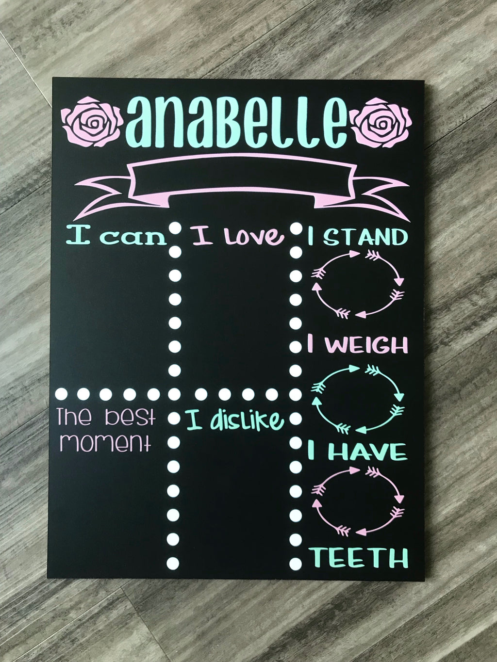 Girly Baby Printed Chalkboard